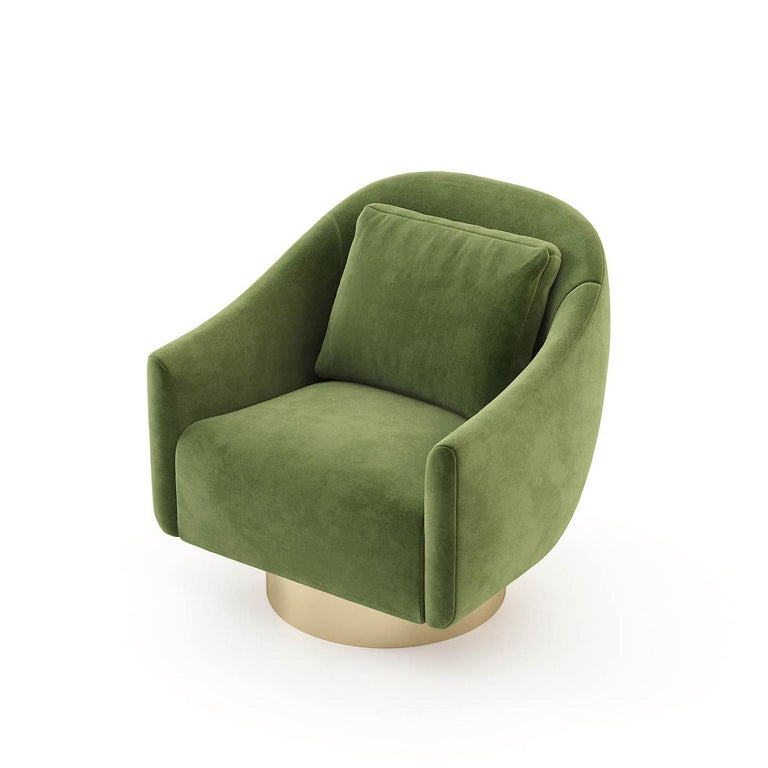Gilt Howard Armchair with Green Velvet Fabric For Sale