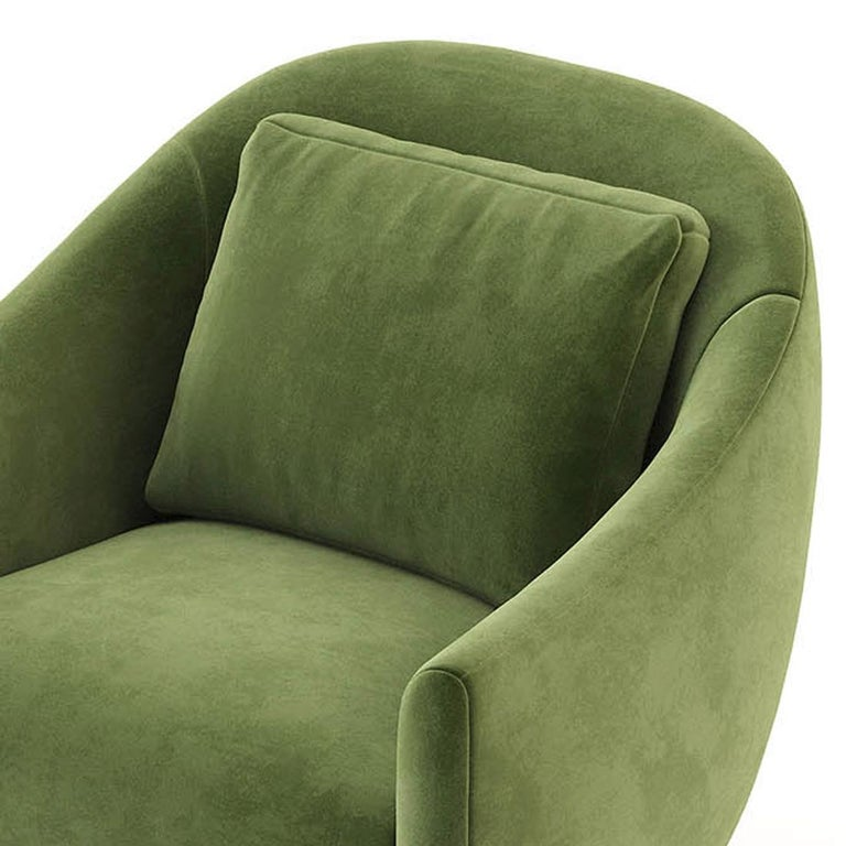 Stainless Steel Howard Armchair with Green Velvet Fabric For Sale