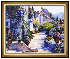 Howard Behrens Large Oil Painting On Canvas Signed Mediterranean Landscape Art