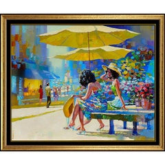 Howard Behrens Large Original Oil Painting on Canvas Signed Cityscape Artwork