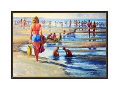 Howard Behrens Oil Painting on Canvas Large Original Seascape Signed Beach Art