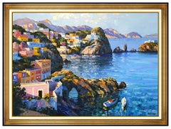 Howard Behrens Original Oil Painting On Canvas Large Italian Seascape Framed Art