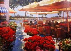 """""""Cafe Ravello"""" Limited Edition Embellished Giclee on Canvas, 64/195 with COA"""