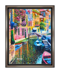 Howard Behrens Large Hand Embellished Giclee On Canvas Signed Romantic Canal oil
