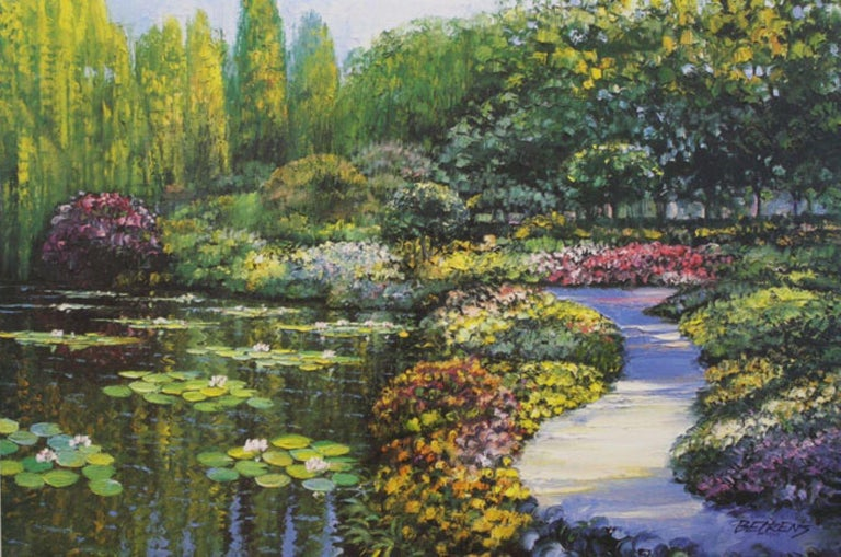 Howard Behrens Landscape Print - Monet's Garden-L. E. Embellished Giclee on Canvas. Signed, comes with COA