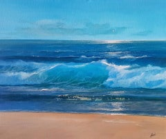 Blue Waters, at the Edge - Vibrant Seascape: Acrylic on Canvas