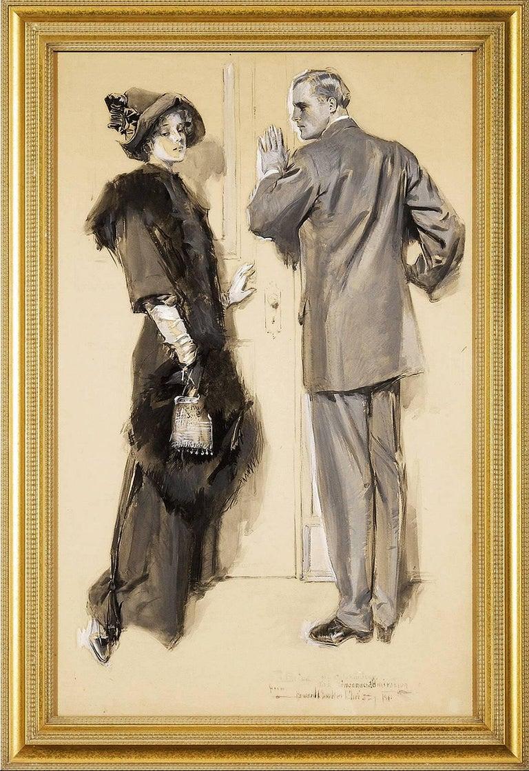 Howard Chandler Christy Figurative Art - Elegant Couple in Conversation