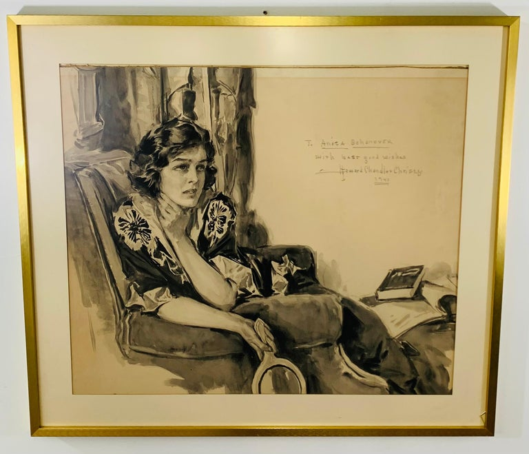This watercolor portrait was made by Howard Chandler Christy (1873-1952, American)and dedicated to his long time friend Anita Shonover in 1940. The portrait is signed dated and inscribed