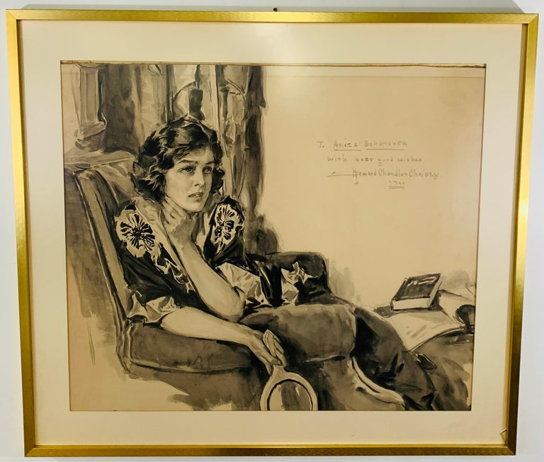 Hollywood Regency Howard Chandler Christy Portrait of a Woman 1940, Signed, Dated and Framed For Sale