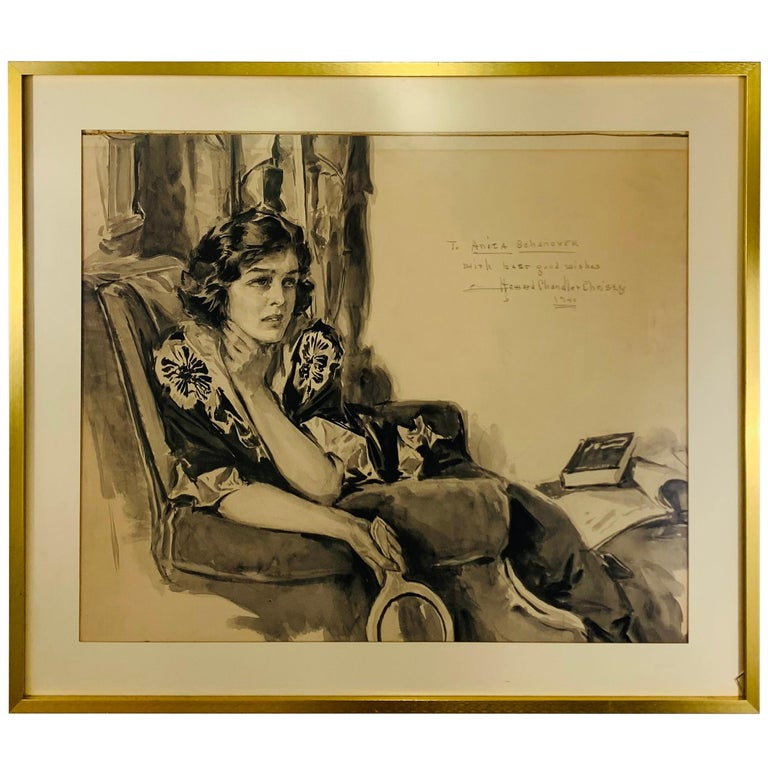 Howard Chandler Christy Portrait of a Woman 1940, Signed, Dated and Framed For Sale