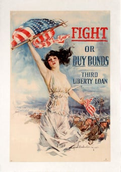 "Original Antique WWI Poster Fight or Buy Bonds Third Liberty Loan ""Christy Girl"""