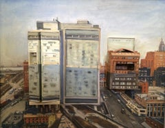 High Line and Standard Hotel, Mixed Media on Canvas