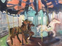 Bryant Park Carousel, Oil Painting on MDF Panel
