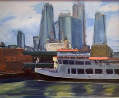 Circle Line Dock, Painting, Oil on MDF Panel