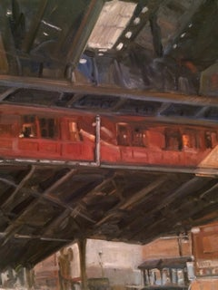 Elevated Subway Station, Painting, Oil on MDF Panel
