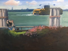 Enjoying Battery Park NYC, Painting, Oil on MDF Panel
