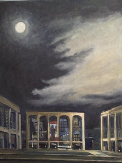 Full Moon over Lincoln Center, Painting, Oil on MDF Panel