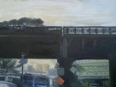 Looking Up at the High Line, Painting, Oil on MDF Panel