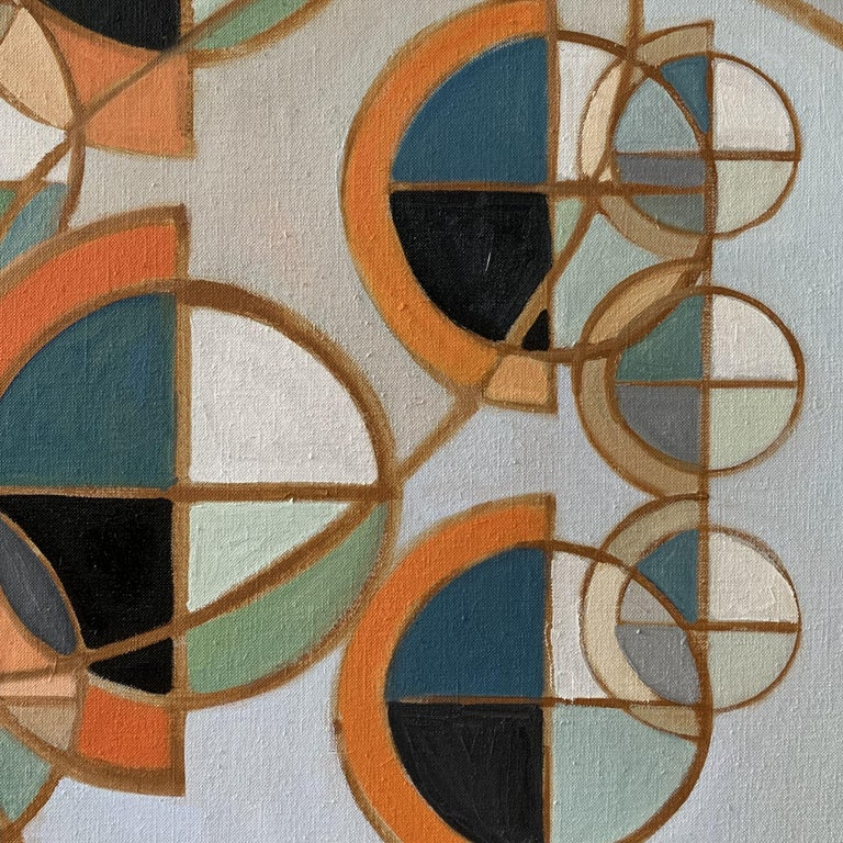 Novo Spheres Rising, Painting, Oil on Glass - Gray Abstract Painting by Howard Danelowitz