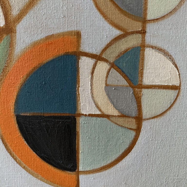 Novo Spheres Rising is a diptych composed of two linen canvases. The piece reveals how circular shapes occupy space, and present a pleasing presentation.  :: Painting :: Abstract :: This piece comes with an official certificate of authenticity