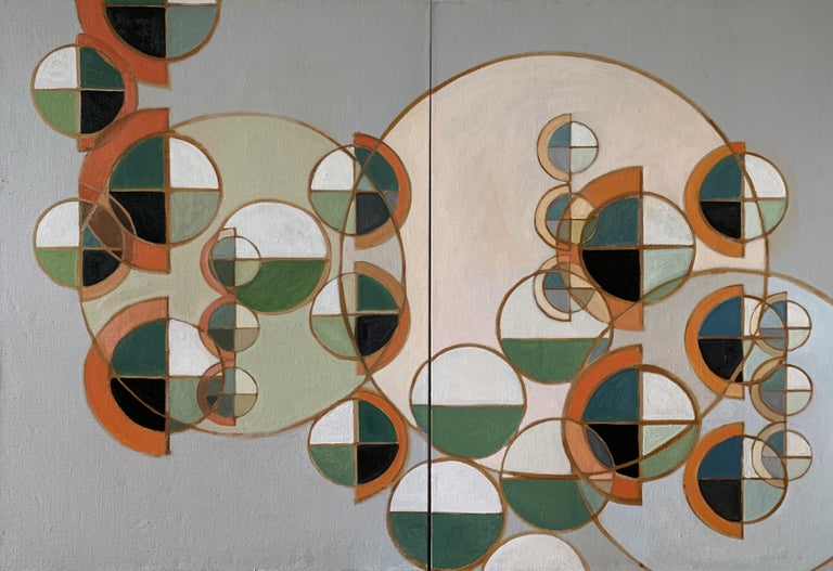 Howard Danelowitz Abstract Painting - Novo Spheres Rising, Painting, Oil on Glass
