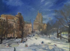 Sledding in Central Park, Painting, Oil on MDF Panel