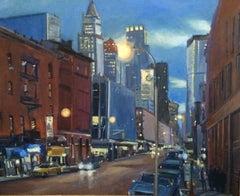 Varick Street New York City, Painting, Oil on MDF Panel