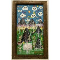 "Howard Finster ""Heavens of Olika"" Folk Art Painting 1996"