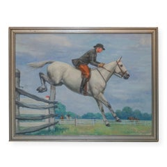 Impressionist Equestrian Oil Painting The Steeple Jump