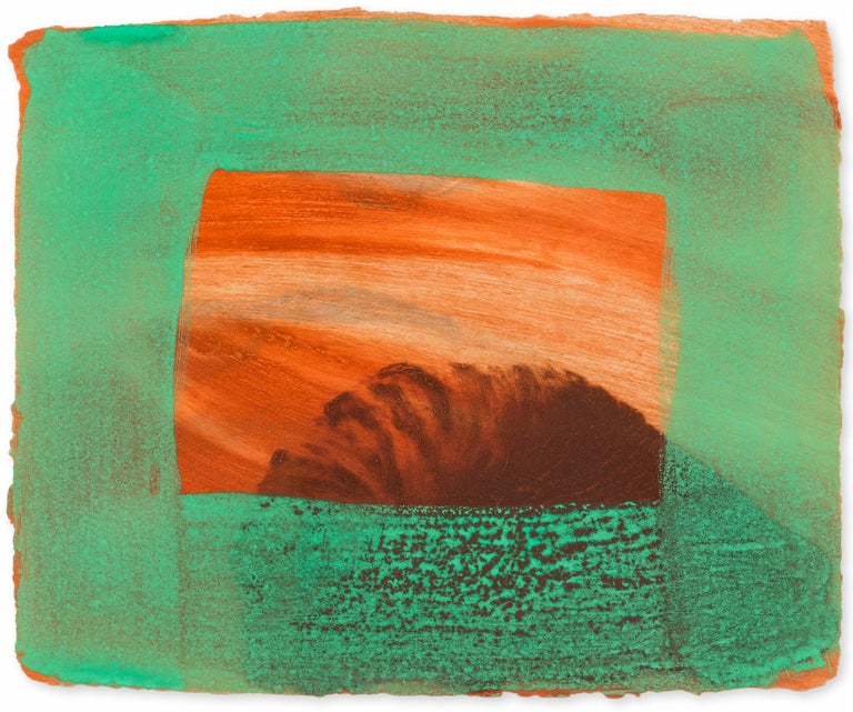 HOWARD HODGKIN After Degas, 1990-91 Intaglio print with carborundum printed in red ochre, burnt Sienna, chrome yellow and raw umber and grey with handcolouring in veronese green egg tempera On Aquarelle Larroque moulins de Larroque et Pombie