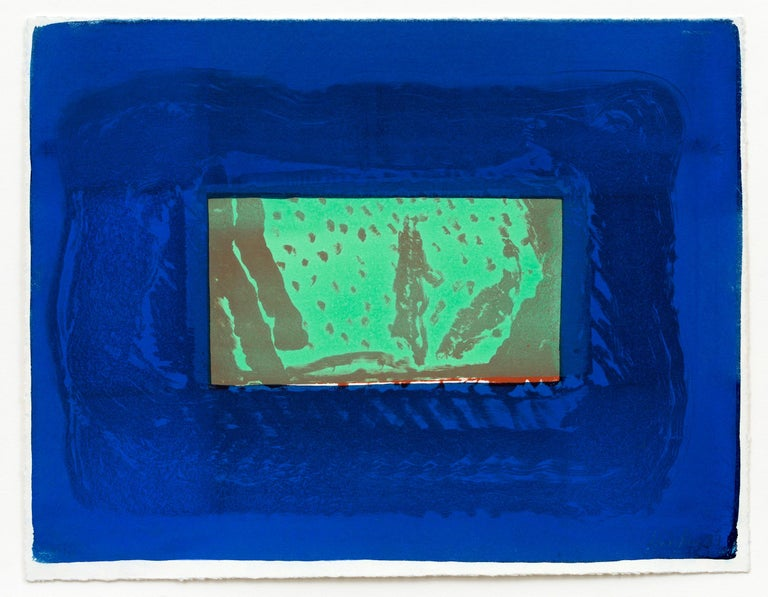 HOWARD HODGKIN Birthday Party, 1977-1978 Lithograph printed in sepia and green with hand-colouring in two shades of blue gouache On velin Arches mould-made paper Signed, dated and numbered from the edition of 50 Printing begun at Solo Press Inc.,