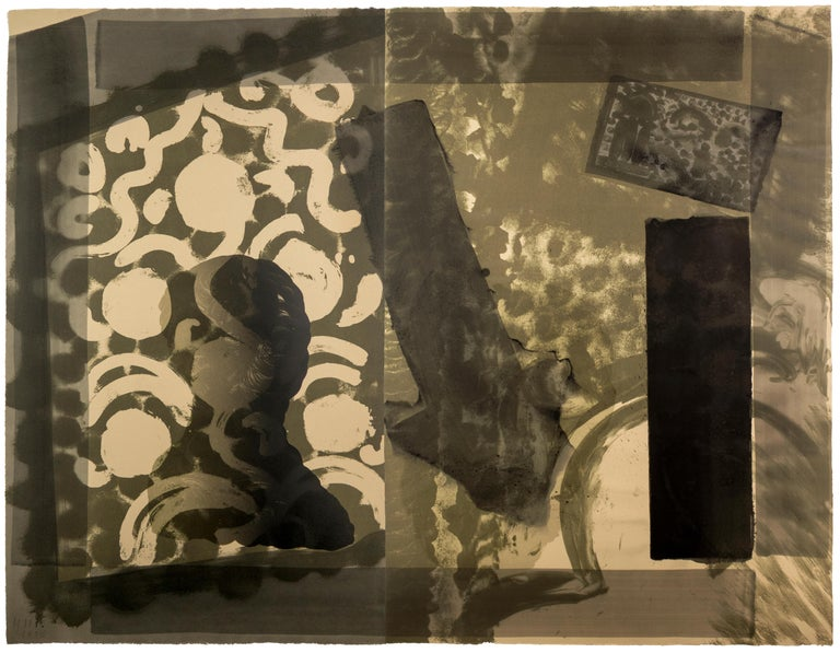 Howard Hodgkin Figurative Print - Black Moonlight: abstract black white and gray gouache and watercolor portrait