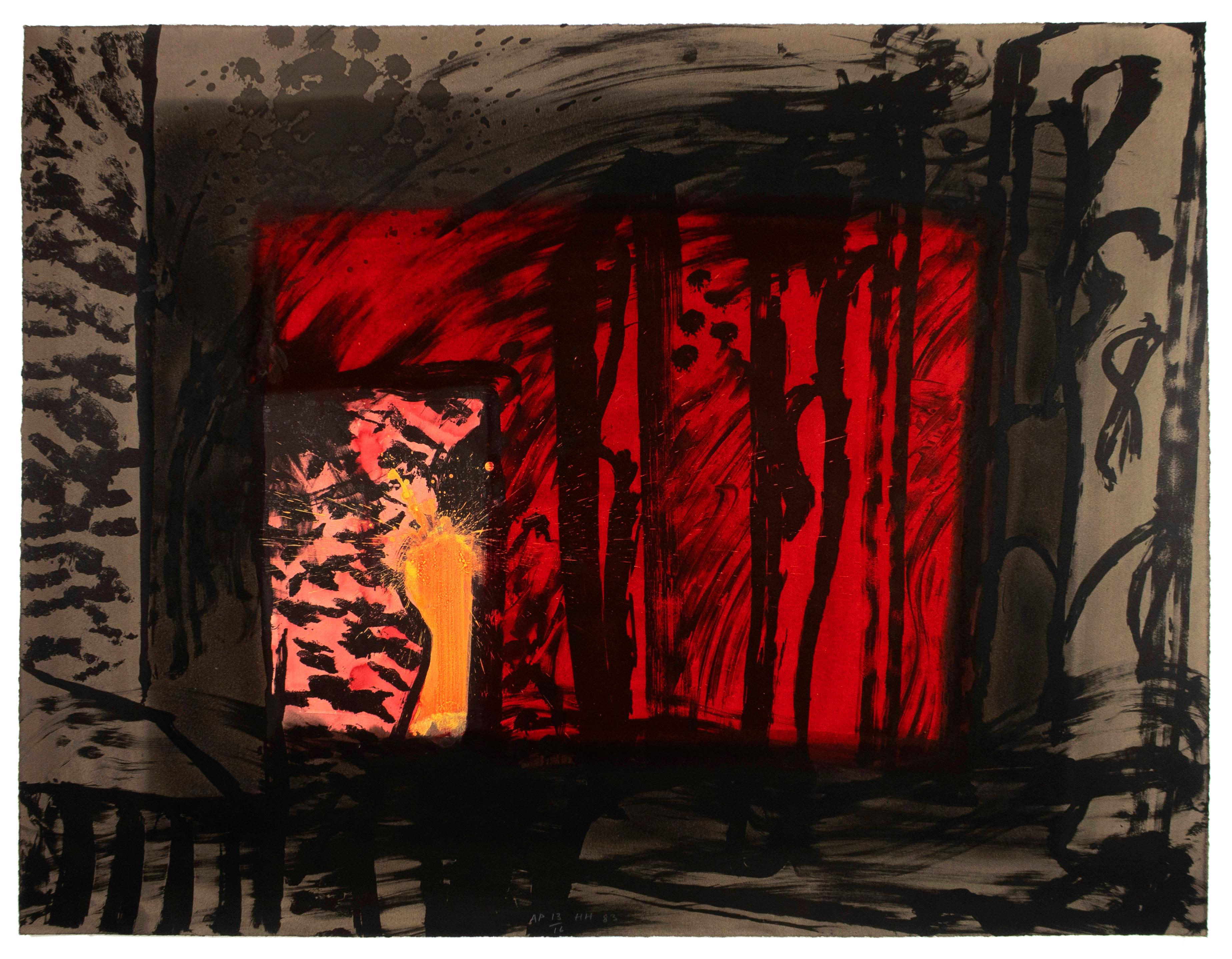 Blood: Howard Hodgkin hand painted Abstract Red Brown Coral and Black