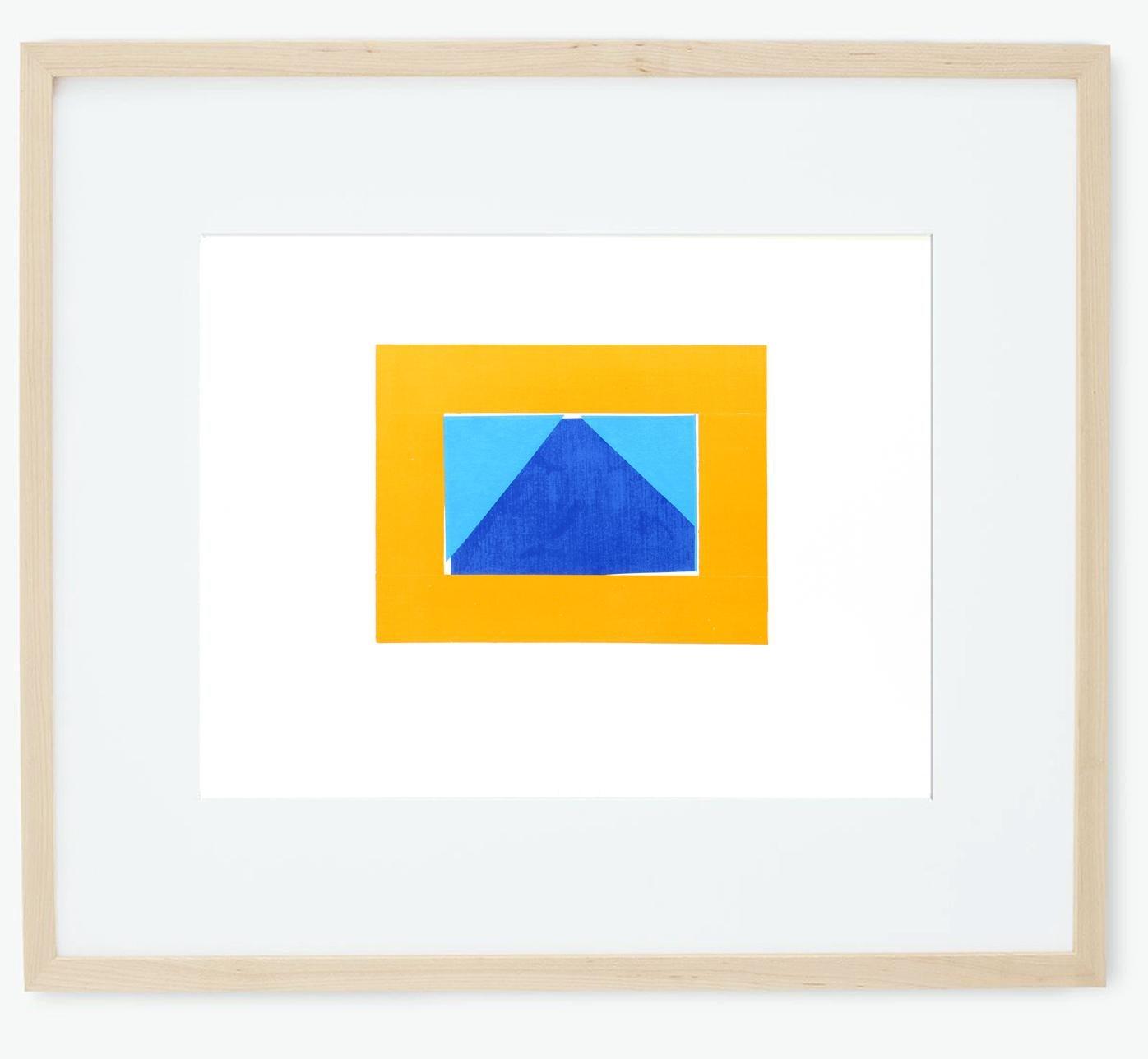 Howard Hodgkin Original Silkscreen 1971 Geometric Blue Orange Early Frame Print