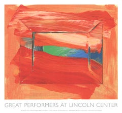 """Howard Hodgkin-The Sky's The Limit-30"""" x 33""""-Serigraph-2002-Abstract-Red, Orange"""