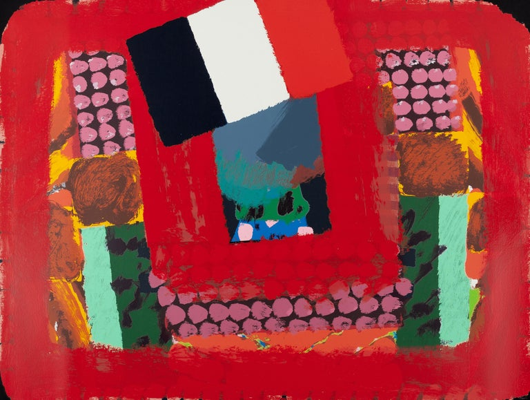 (After) Howard Hodgkin Abstract Print - In a French Restaurant (Knoedler Gallery) SIGNED poster colorful expressionist