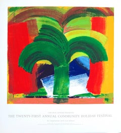In Tangier, Hand Printed Serigraph Art Poster, Abstract Palm Tree Morocco