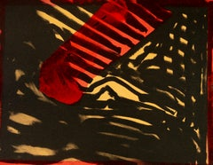 Red Eye by Howard Hodgkin Abstract black red and yellow print with painting