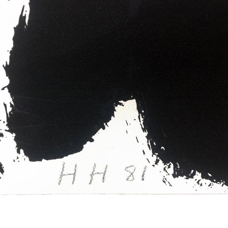 Souvenir, Howard Hodgkin: large scale black white gray abstract interior scene  - Abstract Print by Howard Hodgkin