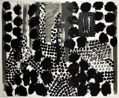 Souvenir: large scale black white and gray abstract interior scene