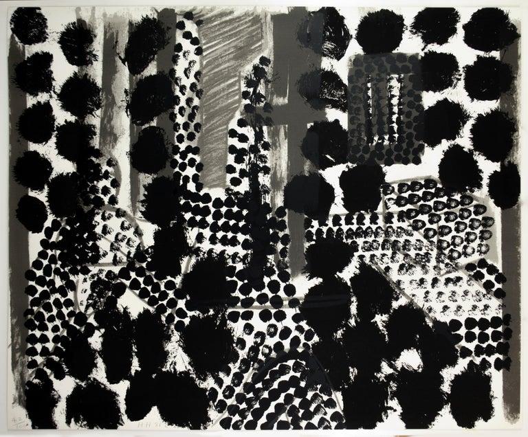 Souvenir, Howard Hodgkin: large scale black white gray abstract interior scene  - Print by Howard Hodgkin