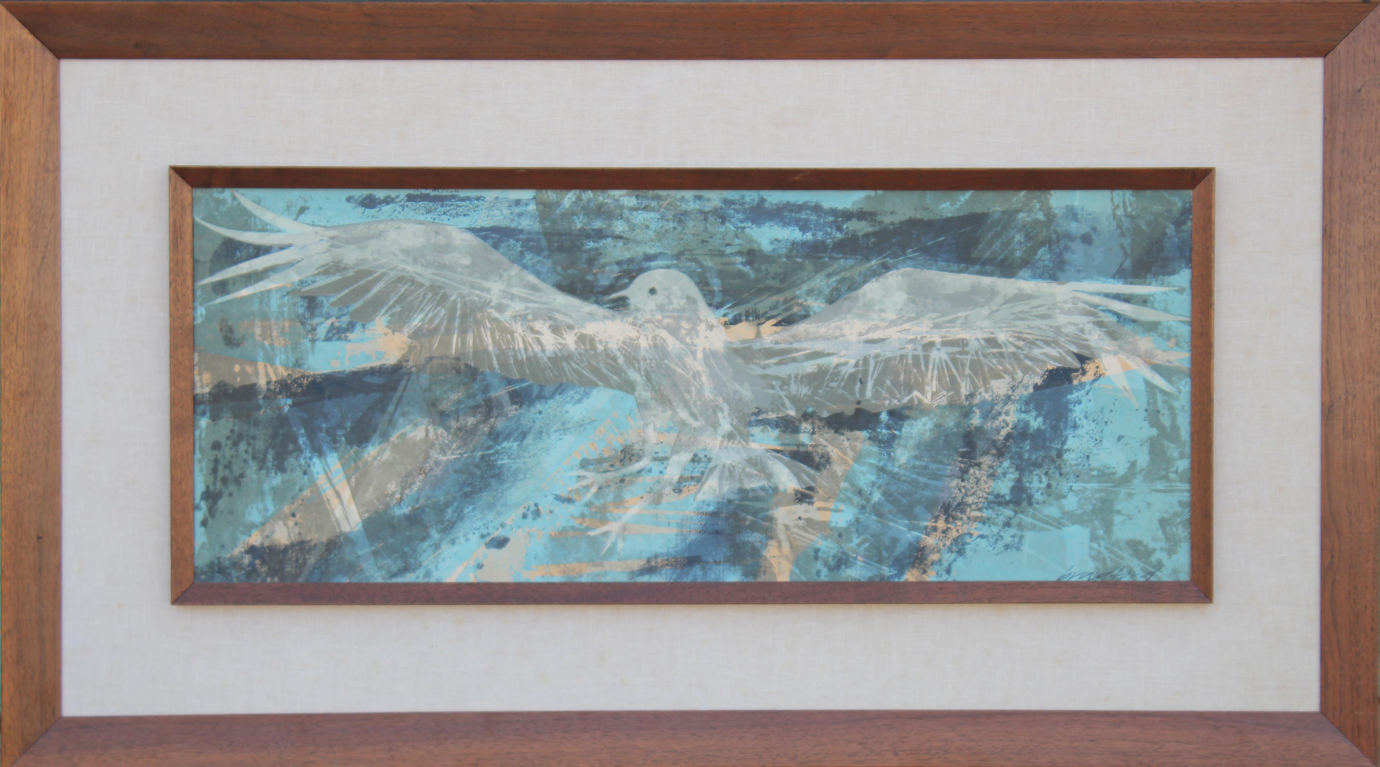 Blue Abstract Bird Painting