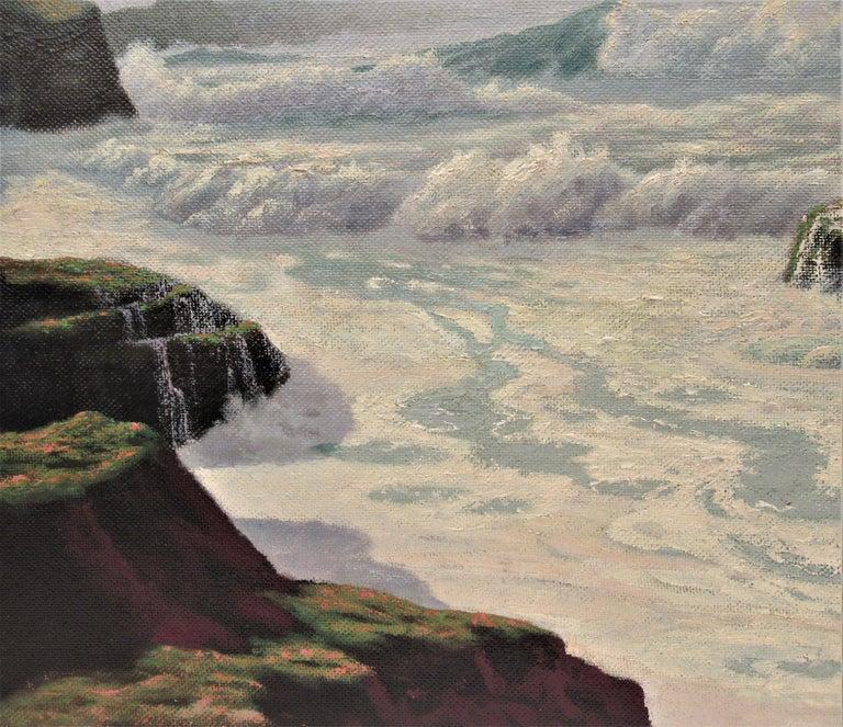 The Fog Rolls in Oregon Coast - Gray Figurative Painting by Howard John Little