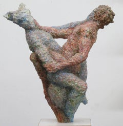 """Jacob and the Angel"" biblical figures in pinks and blues, entwine and wrestle"
