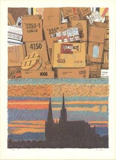 1978 Howard Kanovitz 'Ground Above Us' Contemporary Brown,Black & White,Gray,Mul