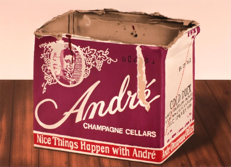 Howard Kanovitz Still-Life Print - Andre: vintage 1970s champagne and wood grain still life, realist pop art style