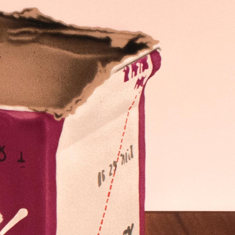 This richly-hued screenprint depicts the ripped-open box packaging for Andre Champagne Cellars. On the side of the box is printed