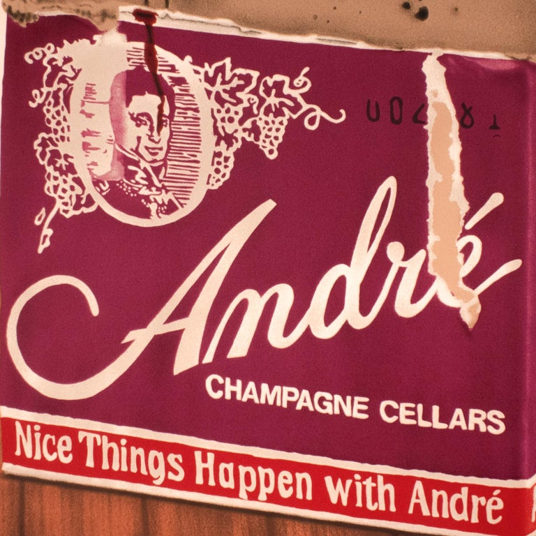 Andre: vintage 1970s champagne and wood grain still life, realist pop art style  For Sale 3