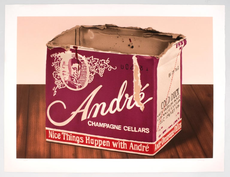Andre: vintage 1970s champagne and wood grain still life, realist pop art style  - Print by Howard Kanovitz