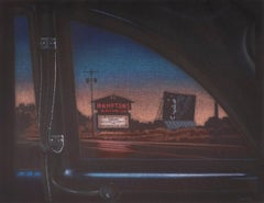 Hamptons Drive In: night cityscape with neon and sunset